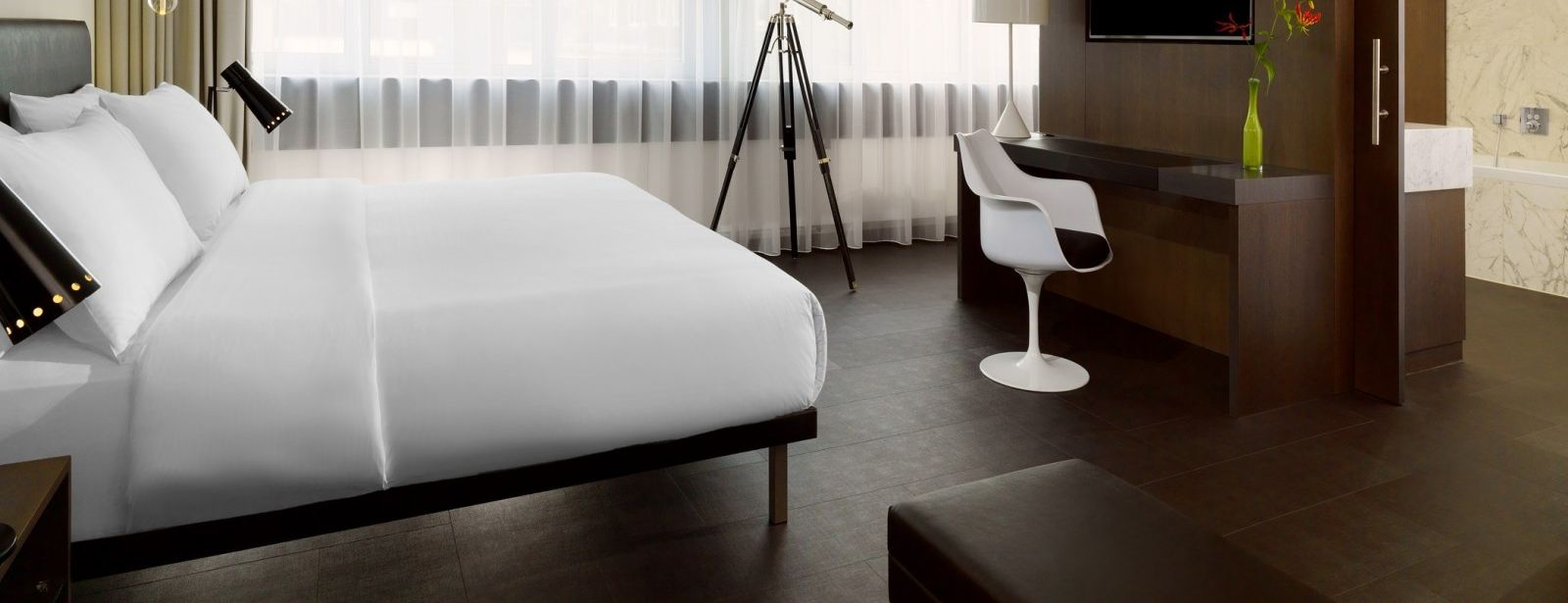 Bedroom of the Skyline Suite at Le Méridien Frankfurt Hotel